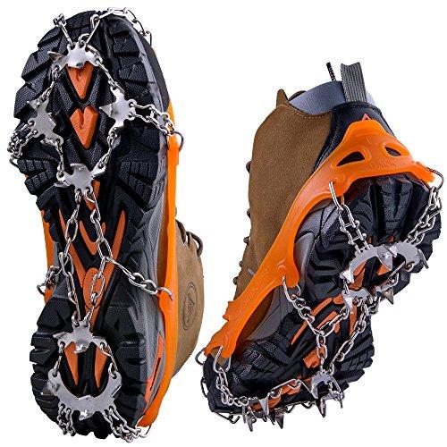 WEYN 19 Zähne Klettern Steigeisen aus Edelstahl Anti-Rutsch Spikes Genuss für Winter Outdoor Aktivitäten z.B. Fischen, Wandern, Jagen, Klettern usw, 1 Paar L(EU40.5-45) Orange
