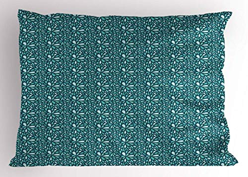 HFYZT Rain Pillow Sham, Messy Dahlia Flower Pattern Inspired Design and Floral Print, Decorative Standard King Size Printed Kissenbezug Pillowcase, 18 X 18 inches, Dark Teal Baby Blue and Turquoise - Dahlia Sham