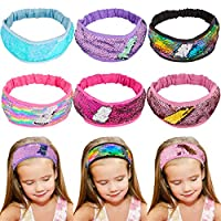 Sequin Headbands, Beinou Mermaid Reversible Sequins Hairband Elastic Stretch Sparkly Glitter Fashion Non Slip Suedette Lined Sports Fitness Hair Band for Girls and Women Pack of 6