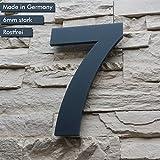 Hausnummer 7 ( 1-stellig / 26cm Ziffernhöhe ) in Anthrazit-grau, aus massiven 6mm Acrylglas - Original ALEZZIO Design - Rostfrei, UV-beständig und abwaschbar, Anthrazit wie Pulverbeschichtet RAL 7016, inklusive Montagematerial und Montageschablone für kinderleichte Montage