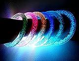PRESKIN – LED Armreif Set (2 Stück), leuchtender Armring, Party Armband, bunt blinkender Schmuck für Rucksack, Fahrrad, Kind und Hund
