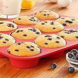 Bulfyss 12 Cavity Silicone Muffin Baking Pan Mold, 33x25x3cm (Multicolour)