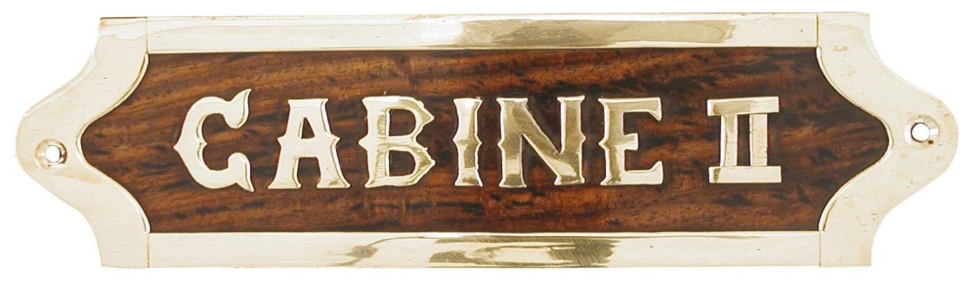 G�n�rique 843 cabina II placca in legno con elementi in ottone, 19,5 x 5 x 1 cm