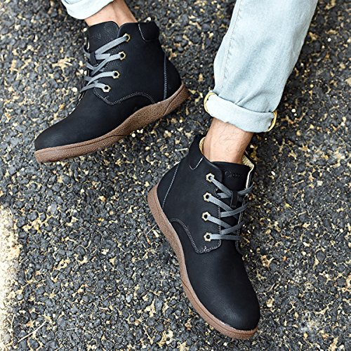 Winter Stiefel, Gracosy Unisex Martin Stiefel Classic Boots Lederschuhe Kurzschaft Stiefel Outdoor Sneakers Stiefeletten für Damen Herren (Hersteller-Größentabelle im Bild Beachten) Schwarz
