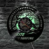Unbekannt Lyq 12' Drachen Surfen Sport Led Licht Aufzeichnung Licht Vinyl Mauer Uhr Handarbeit Geschenk Mauer Kunst Cool Leben Zimmer Innere Dekorativ