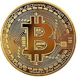 BRINGO 2X Moneda física de Bitcoin revestida en Oro auténtico de 24 Quilates. Una verdadera Pieza de coleccionista, con Estuche Protector