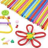 Peradix Costruzioni Giochi - Colorati Bastoni Morbidi Giochi(77pezzi)- Educativi e Crestivi Costruzioni Giocattoli per Bambini - attività Creative Giocattolo educativo