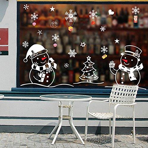 Weihnachten Fenstersticker, PVC Fensterbilder Weihnachten Fensterdeko selbstklebend Fensterfolie Weihnachtsdekoration, Schneemann Rentier Fensterbilder Aufkleber Aufkleber Weihnachten (50*70cm)