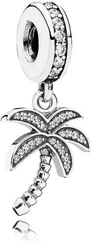 Pandora Women's Polished Silver Sparkling Palm Tree Pendant Charm - 791540CZ