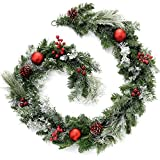 WeRChristmas Frosted Decorated Garland Christmas Decoration, 6 feet - Red