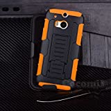 HTC One M8 Funda, Cocomii Robot Armor NEW [Heavy Duty] Premium Belt Clip Holster Kickstand Shockproof Hard Bumper Shell [Military Defender] Full Body Dual Layer Rugged Cover Case Carcasa (Orange)