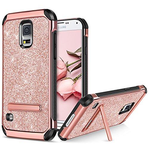 BENTOBEN Samsung Galaxy S5 Hülle, Galaxy S5 Case mit Ständer stoßfest Schutzhülle Hybrid PC Cover TPU Bumper Glitzer Hülle für Samsung Galaxy S5 (Duos) G900 / Galaxy S5 Neo Rose Gold