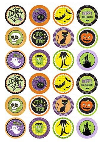 24Kuchen Topper 4cm auf Zuckerguss Cupcake Bilder-ND2Halloween Hexen Horror Katze (Insekten Halloween Essbare)