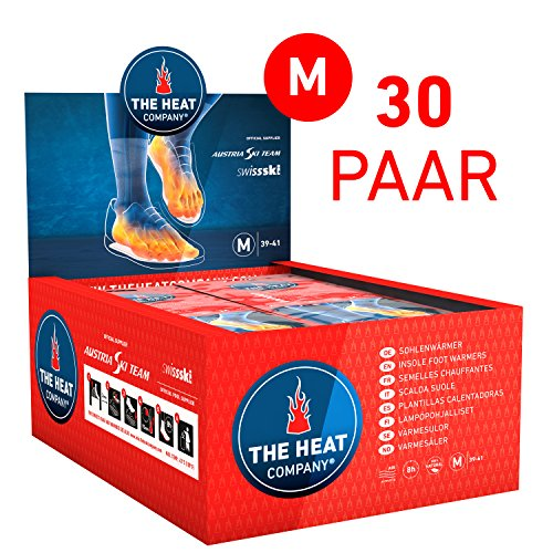 THE HEAT COMPANY Sohlenwärmer - Neue GRÖSSEN - 8 Stunden Wärmedauer Wärmesohle Fußwärmer Schuhheizung Fußheizung, MEDIUM: Grösse 39-41; 30 Paar