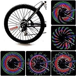 JAMSWALL Rueda del LED Luces para Rueda de Bicicletas 32 Leds Señal de Rueda de Bicicleta Sin batería
