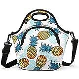 Isolierte Kühltasche, Nuovoware Neopren Mittagessen-Picknick-Kühltasche Mittagessen Box Thermotasche Multifunctional Lunchtasche mit verstellbarer Riemen und Fronttasche mit Reißverschluss, Ananas