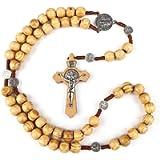 Catholic Prayer Rosary Necklace Olive Wood Beads Handmade Jerusalem Cross
