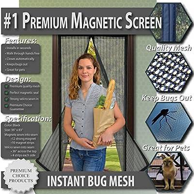 Premium Magnético Protector de puerta-mantener Bugs fuera.. Diseño de malla, imanes cierre automáticamente. Permite Aire Fresco En.