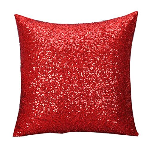 """Fashion Sequins Body Pillowcases,Highpot Simpel Style Design A Variety of Sequin Square Cover Cushion (40cm40cm/15.7415.74"""", Red)"""