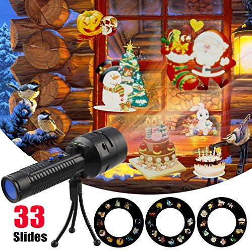 LED Projektor Taschenlampe Weihnachten tragbare Taschenlampe mit 3 Roulette Dias und Stativ,Kindertaschenlampe mit Batterie Weihnachtsdeko Licht Projektor für Garten/Party/Außen Innen (Schwarz)
