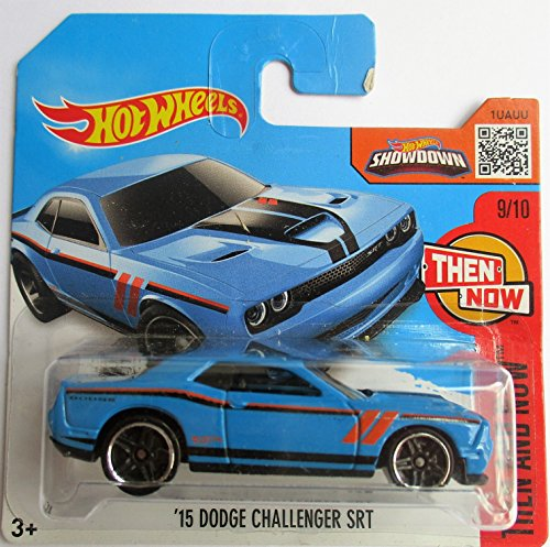 hot-wheels-15-dodge-challenger-srt-in-blue-9-10-from-the-then-and-now-series-on-short-card