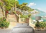 Yosot Benutzerdefiniertes Hintergrundbild Garten Balkon Treppe Seeblick 3D Wohnzimmer Schlafzimmer Fernseher Sofa Hintergrund Wandbild 3D Tapete-250Cmx175Cm