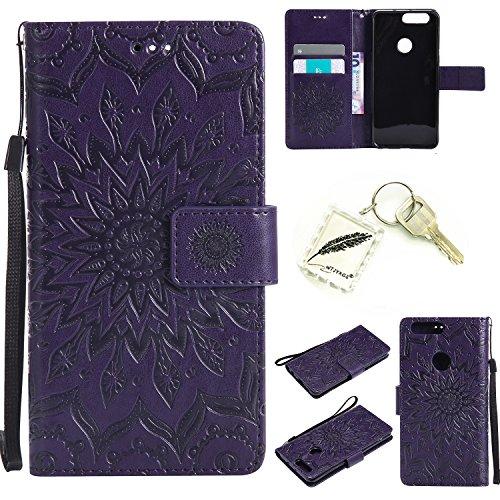 Preisvergleich Produktbild Silikonsoftshell PU Hülle für Huawei Honor 8 (5,2 Zoll) Tasche Schutz Hülle Case Cover Etui Strass Schutz schutzhülle Bumper Schale Silicone case+Exquisite key chain X1#KD (2) (4)