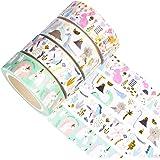 YUBX 4 Rouleaux Washi Tape Ruban Adhésif Papier Décoratif Masking Tape pour Scrapbooking Artisanat de Bricolage (Animal Gold)