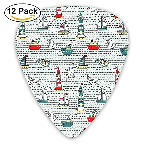 Seagulls Lighthouses Message In Bottles Steamboats Sailboats Wavy Pattern Nautical Theme Guitar Picks 12/Pack Set (Bottle Message A Necklace In)