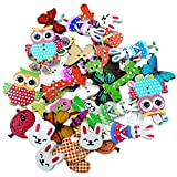 Generic Pack of 50 Assorted Animals Wooden Decorative Buttons for Sewing and Crafts
