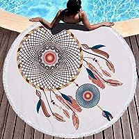 JUNYZSTJ Toalla de Playa Redonda Línea de Toallas de Playa de Microfibra Patrón de atrapasueños Roundie