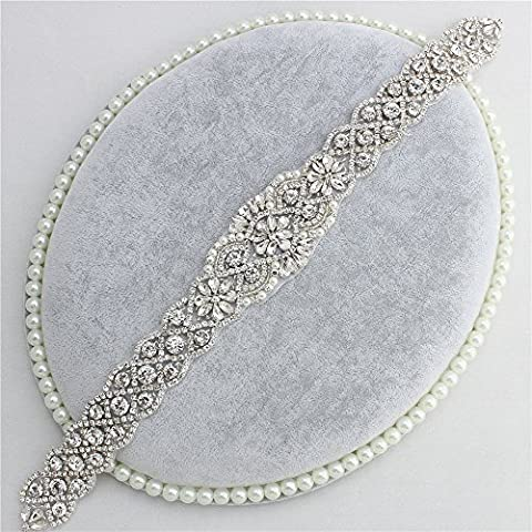 Rhinestone Wedding Dress Belt Applique, Crystal Bridal Applique Pearls Beaded Decorations Handmade Sparkle Elegant Sewing or Iron on for Women Evening Gown Sashes -