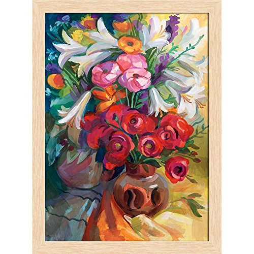 ArtzFolio Bouquet of Flowers D3 Canvas Painting Natural Brown Wood Frame 16 X 21.5Inch Bouquet Natural Wood