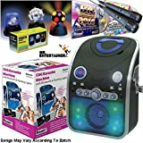 Mr Entertainer Bluetooth Home Karaoke Machine Package. Includes Party Disco Lights, Chart Hits & Kids CDG Songs and Two Mics