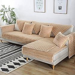 FDJKGFHGFCGDFGDG Volle Deckung schonbezug Sofa,Winter Anti-rutsch plüsch sofabezug Rückenlehne zu Decken Moderne schlichtheit Couch abdeckungen Sofabezug für Wohnzimmer -Khaki 90x180cm(35x71inch)