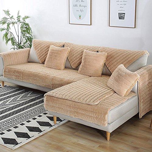 FDJKGFHGFCGDFGDG Volle Deckung schonbezug Sofa,Winter Anti-rutsch plüsch sofabezug Rückenlehne zu Decken Moderne schlichtheit Couch abdeckungen Sofabezug für Wohnzimmer -Khaki 70x210cm(28x83inch) -