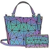 Frauen Top-Henkeltaschen Geometrische leuchtende Tasche PU-Leder Geldbörsen Daypacks Brusttasche Handtaschen holographischer