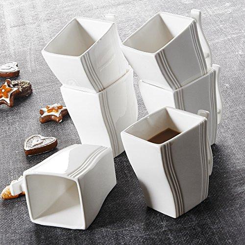 Malacasa Série Flora 6pcs Mugs Tasse à Café Service à Café Thé Tasses en Porcelaine 11,5*7,5*11cm Blanc Design Moderne