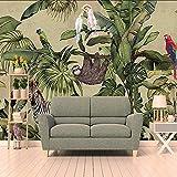 Wiwhy Rétro Rain Forest Mural Photo Papier Peint 3D Animal Palm Peinture Fresque Salon Restaurant Moderne Personnalité Mural Papier Peint-200X140Cm