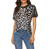 XIANO T-Shirt con Stampa Leopardata da Donna T-Shirt Estiva Manica Corta Girocollo Stampata Casual Maglia Donna Manica Lunga