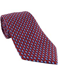 Red with Blue Owls Silk Tie