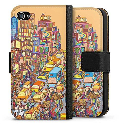 Apple iPhone X Silikon Hülle Case Schutzhülle New York Bunt Stadt Sideflip Tasche schwarz