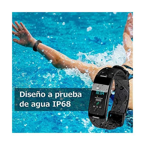 Sonkir Fitness Tracker HR, Reloj de Seguimiento de Actividad con Monitor de frecuencia cardíaca, podómetro, Contador de calorías, Monitor para Dormir, Pulsera Inteligente Resistente al Agua IP68 4