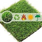 Shaddock Synthetischer Kunstrasen-Teppich für den Innen- und Außenbereich, Florhöhe 35 mm, ideal als Teppich für Hunde, Garten und Fußmatte, gummierte Unterseite mit Drainagelöchern