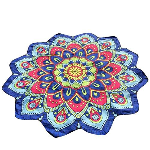 Koly Bohemia Lotus Hippie Tassel Tapicería Flores Beach Throw Cojín Toalla Yoga Mat (Multicolor D)