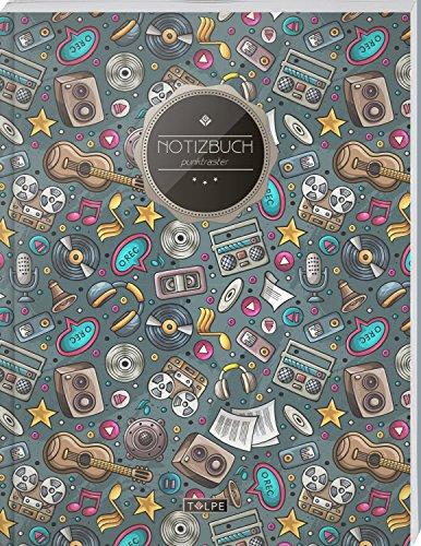 """TULPE Punktraster Notizbuch A4 """"C121 Musikfan"""" (140+ Seiten, Vintage Softcover, Punktkariertes Papier - Bullet Journal, Dickes Notizheft, Skizzenbuch, Tagebuch, Gepunktete Seiten, Dot Grid Notebook) por Tulpe Punktraster Notizbuch"""
