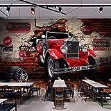 Xzfddn Personnalisé 3D Papier Peint Rétro Rouge Voiture Photo Peintures Murales Restaurant Café Bar Ktv Salon Toile De Fond Mur Décor Papier Peint 3D-150X120CM