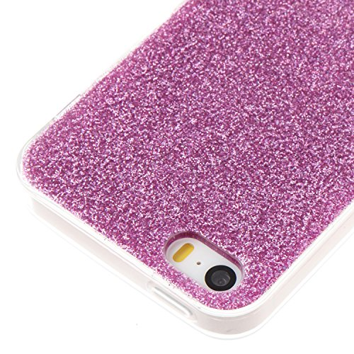 iPhone 5 Hülle, Voguecase Silikon Schutzhülle / Case / Cover / Hülle / TPU Gel Skin für Apple iPhone 5 5G 5S SE(Dijiao Glitzer-Silber) + Gratis Universal Eingabestift Dijiao Glitzer-Lila