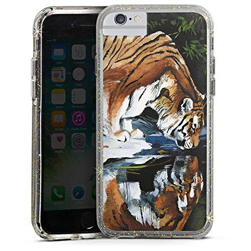 Apple iPhone 6s Bumper Hülle Bumper Case Glitzer Hülle Tiger Water Wasser Bumper Case Glitzer gold