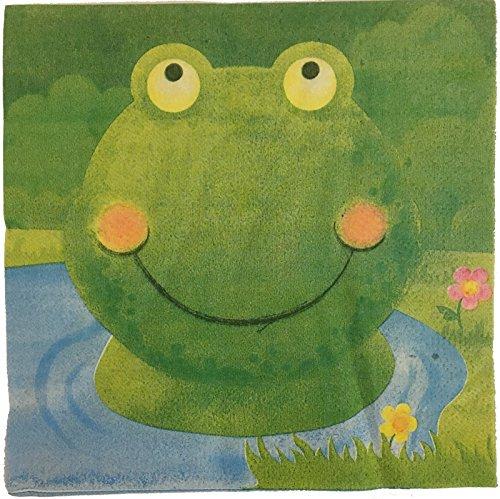 20 Papierservietten * GRÜNER FROSCH * für Kindergeburtstag oder Mottoparty // Servietten Napkins Green Frog Kröte